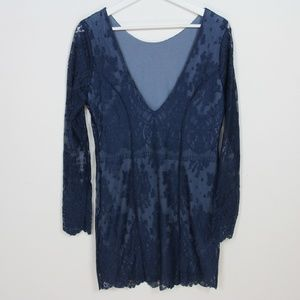 Free People Dresses - Free People Blue Lace Open Back Long Sleeve Dress